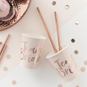 Pink And Rose Gold Foiled Team Bride Cups - Team Bride