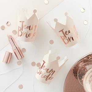 Pink And Rose Gold Foiled Team Bride Party Crowns - Team Bride