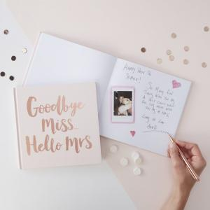 Rose Gold Foiled Goodbye Miss Hello Mrs Advice Book - Team Bride