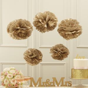 Tissue Paper Pom Poms Metallic Gold - Pastel Perfection