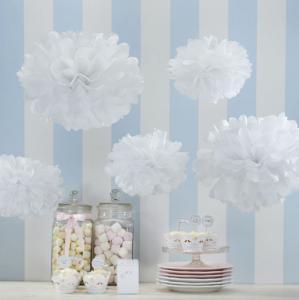 Tissue Paper Pom Poms White - Vintage Lace