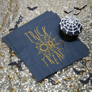 Gold Foiled Halloween Napkin - Trick Or Treat