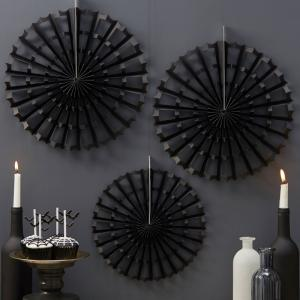 Black Halloween Spider Fan Decorations - Trick Or Treat