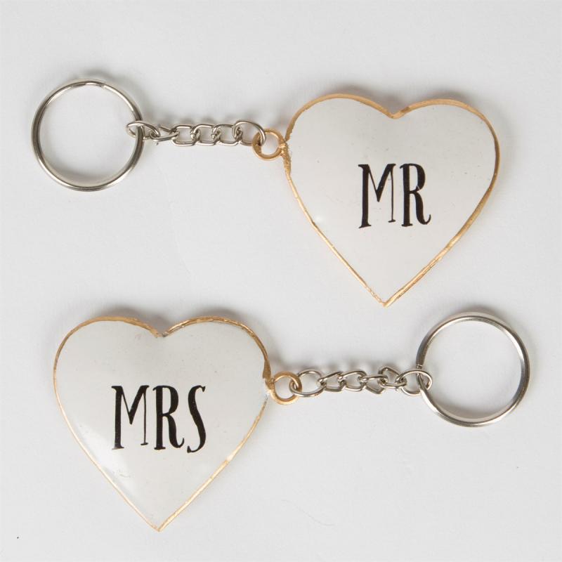 Mr & Mrs Vintage Heart Keyring - nyckelringar