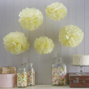 Tissue Paper Pom Poms Pastel Yellow - Vintage Lace