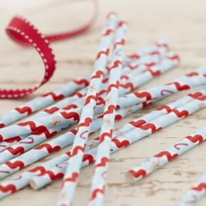 Vintage Christmas Paper Straws - Vintage Noel