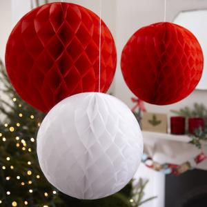 Honeycomb Ball Decoration - Red & White - Vintage Noel