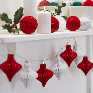 Christmas Red and White Honeycomb Bauble Garland - Vintage Noel