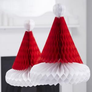 Christmas Honeycomb Santa Hats - Vintage Noel