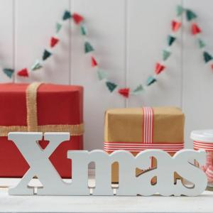 Festive White Xmas Wooden Word Sign - Vintage Noel