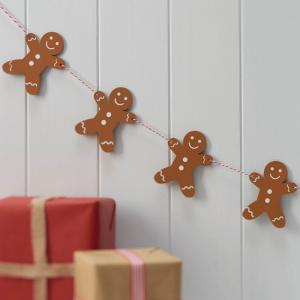 Wooden Gingerbread Man Christmas Bunting - Vintage Noel