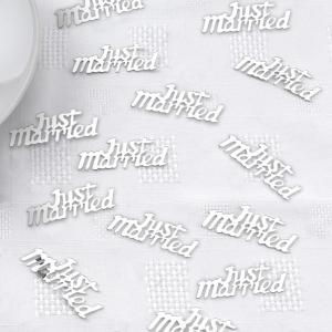 Just Married Silver Confetti - bröllopskonfetti