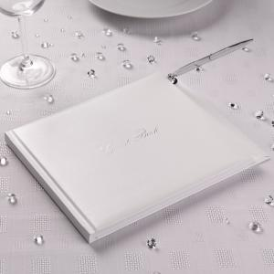 Guest Book with Pen - White & Silver