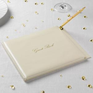 Guest Book with Pen - Ivory & Gold