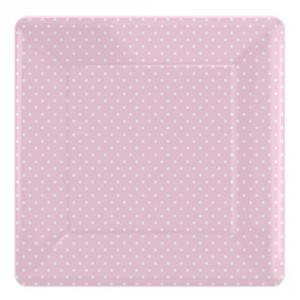 Paper Plates - Pink Polka Dot Square