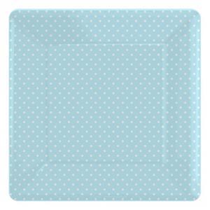 Paper Plates - Blue Polka Dot Square