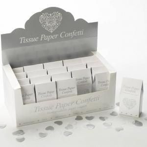 Tissue Paper Confetti - Vintage Romance White & Silver