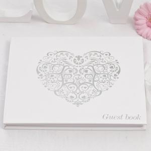 Guest Book - Vintage Romance White & Silver