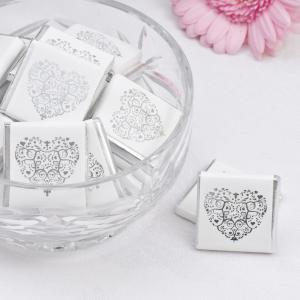 Chocolate Squares - Vintage Romance White & Silver