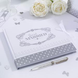 Guest Book - Chic Boutique White & Silver