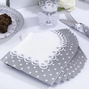 Napkins - Chic Boutique White & Silver