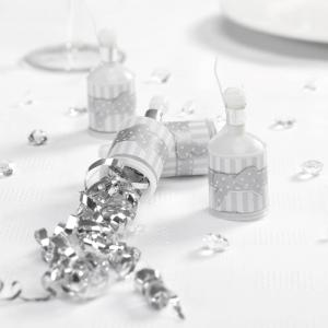 Party Poppers - Chic Boutique White & Silver