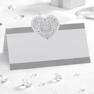 Place Cards - Vintage Romance White & Silver