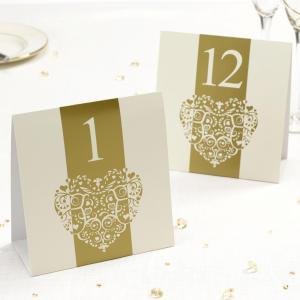 Table Numbers - Vintage Romance Ivory & Gold