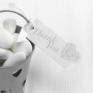 """Thank You"" Luggage Tags - Vintage Romance White & Silver"