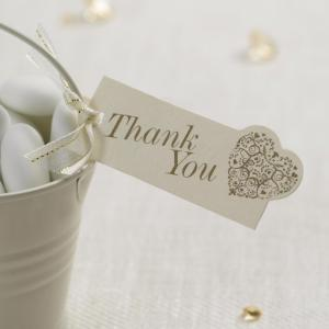 """Thank You"" Luggage Tags - Vintage Romance Ivory & Gold"