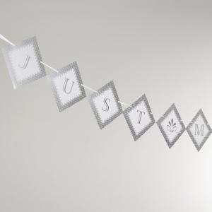Just Married Bunting - Chic Boutiqe White & Silver