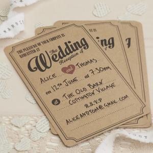 Wedding Evening Invitations in Brown Kraft - Vintage Affair