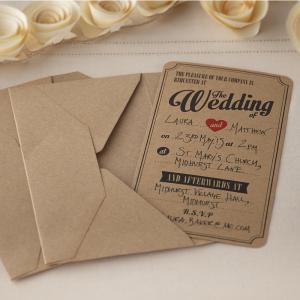 Wedding Invitations in Brown Kraft - Vintage Affair