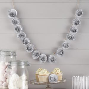 White Paper Flower Garland Decoration - Vintage Affair