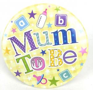 Yellow Jumbo Mum to Be Badge - megabrosch till blivande mamman