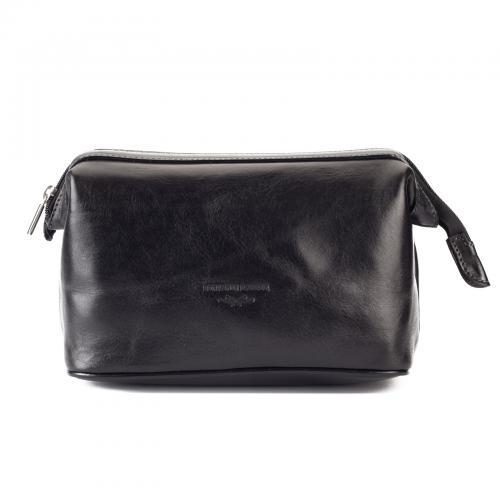 Benjamin Barber - Black Leather Toilet Bag