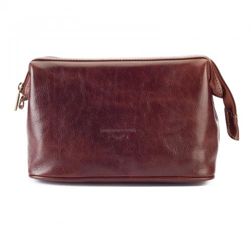 Benjamin Barber - Brown Leather Toilet Bag