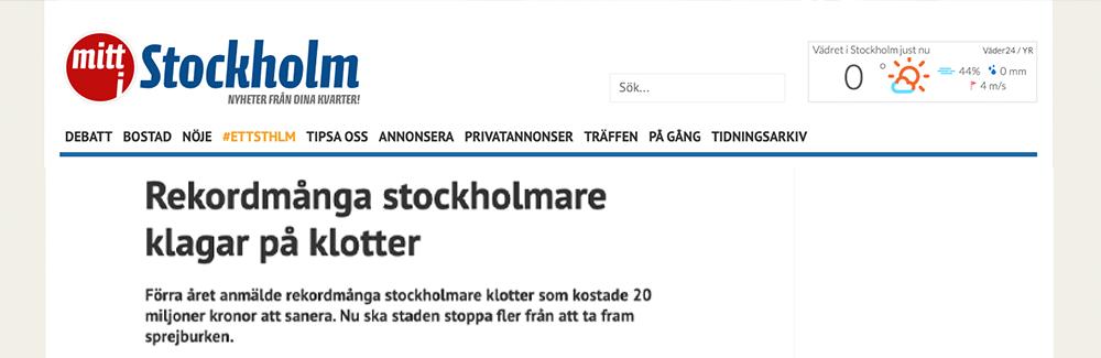 Rekordmånga klotterklagomål i Stockholm i fjol
