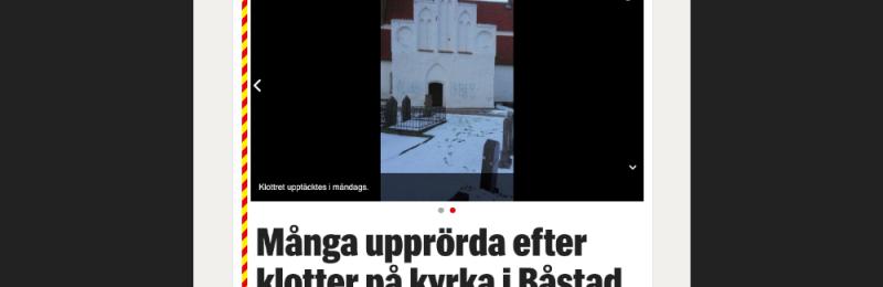Klotter på kyrka i Båstad