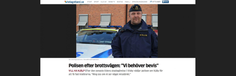 """Helagotland.se rapporterar """"Klottret är ett ot..."""