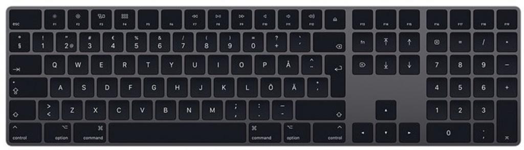 Magic Keyboard med numerisk del – Svenskt – Rymdgrå