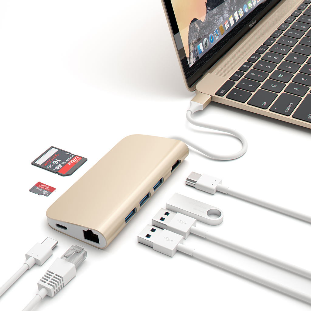 Satechi Type-C Multi-Port Adapter 4K Gigabit Ethernet - Guld