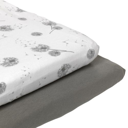 Two pack fitted jersey sheet | Grey | Dandelion