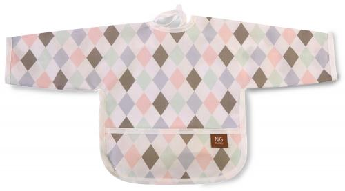 Bib with arms | Harlequin pink | Circus & Harlequin