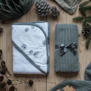 Bathcape Dandelion Grey | Cellular blanket Graphite grey