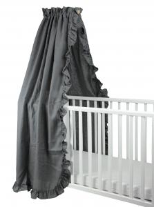 Crib drape ruffle | Graphite grey | Mood ruffles