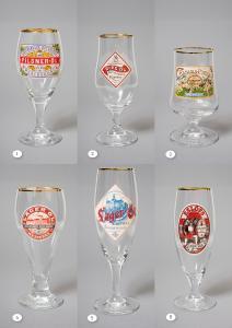6 antika ölglasmodeller med dekor av etiketter (Serie 1)