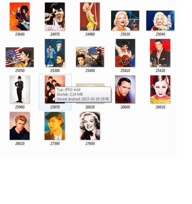 Bild på alla Artister kort, klicka på bilden för förstoring