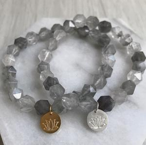 Lotus Bracelet - Cloudy Quartz