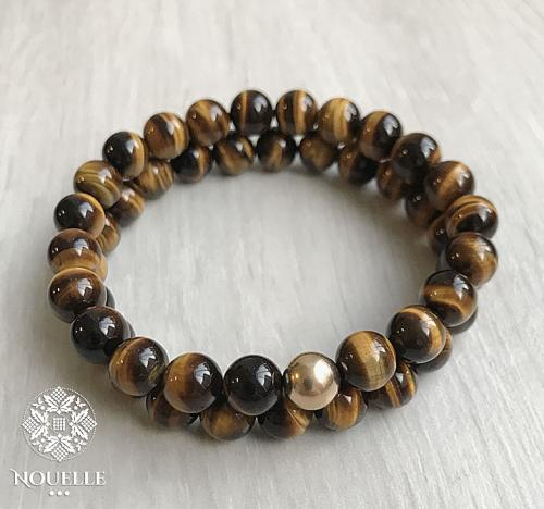 Men's Bracelets - Tiger Eye Brown/Gold